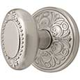 Emtek Beaded Egg Brass Door Knob in Satin Nickel with Lancaster rosette
