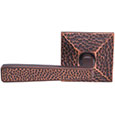 Emtek Hammered Brass Door Handle in Oil Rubbed Bronze with Arts & Crafts Hammered rosette