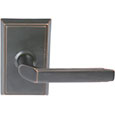Emtek Milano Brass Door Handle in Oil Rubbed Bronze with Rectangular rosette