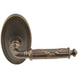 Emtek Ribbon & Reed Brass Door Handle in Oil Rubbed Bronze with Oval rosette