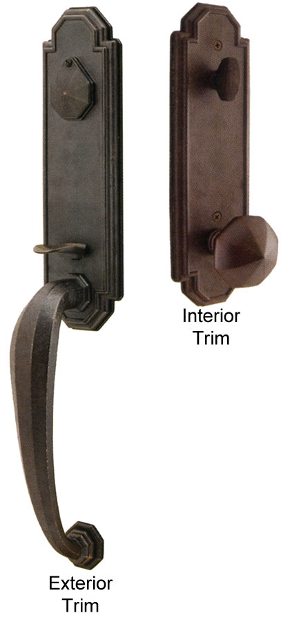 Emtek octagon bronze entry door handle shop entry set door locks homestead for Exterior door handle and lock set