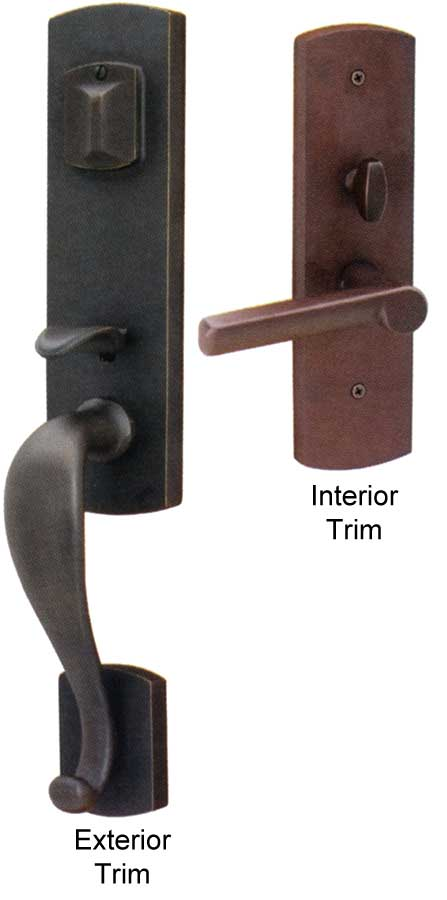 Emtek Sheridan Sandcast Bronze Entry Door Handle Shop Entry Set