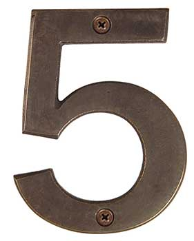 "Emtek Bronze 6"" ""5"" Address Number in Medium Bronze"