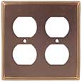 Emtek Colonial 2-Duplex Brass Outlet Cover in Oil Rubbed Bronze