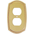 Emtek Rope 1-Duplex Brass Outlet Cover in PVD