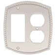 Emtek Rope 1-Rocker/1-Duplex Brass Switch Plate in Satin Nickel