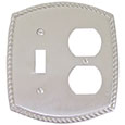 Emtek Rope 1-Toggle/1-Duplex Brass Switch Plate in Satin Nickel