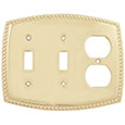 Emtek Rope 2-Toggle/1-Duplex Brass Switch Plate in PVD