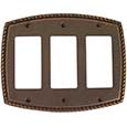 Emtek Rope 3-Rocker Brass Switch Plate in Oil Rubbed Bronze