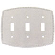 Emtek Rope 3-Toggle Brass Switch Plate in Satin Nickel