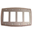 Emtek Rope 4-Rocker Brass Switch Plate in Oil Rubbed Bronze