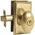 Emtek Egg Brass Keyed Door Knob Lock Set in PVD with Rectangular rosette