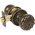 Emtek Keyed Petal Door Knob in Medium Bronze with Style #12 rosette