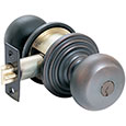 Emtek Providence Brass Keyed Door Knob Lock Set in Oil Rubbed Bronze with Regular rosette