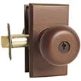 Emtek Keyed Winchester Door Knob in Deep Burgundy with Style #1 rosette