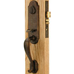 Emtek Cheyenne Bronze Mortise Door Lock Set in Deep Burgundy