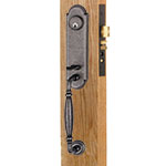 Emtek Normandy Monolithic Mortise Door Lock Set in Satin Steel