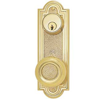 Emtek Belmont 7 1 2 Quot Keyed Brass Door Handle Plate Shop