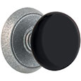 Emtek Black Madison Door Knob in Satin Steel with Style #2 rosette