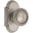 Emtek Rope Brass Door Knob in Pewter with Style #8 rosette