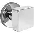 Emtek Square Modern Door Knob in Polished Chrome with Disk rosette