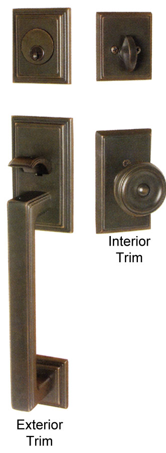 Emtek Hamden Br Entry Door Handle Exterior Trim Shown In Oil Rubbed Bronze Finish