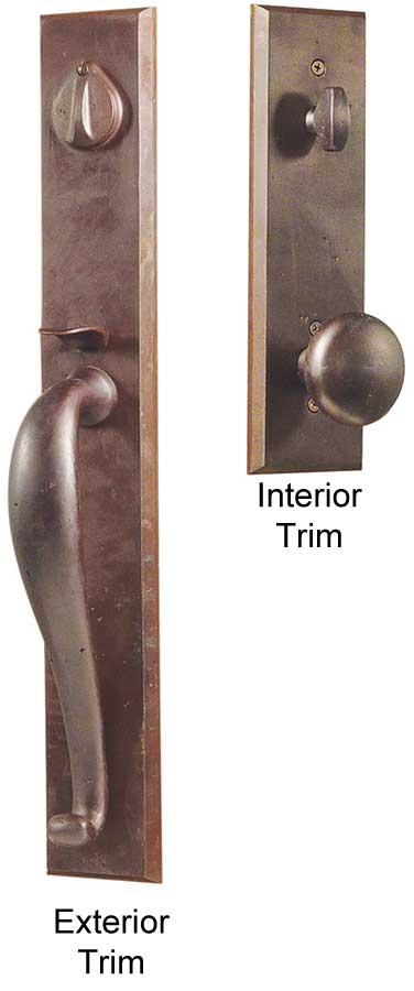 Emtek Rectangular Full Length Sandcast Bronze Entry Door