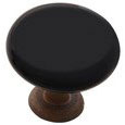 Emtek Madison Black Porcelain Cabinet Knob in Rust