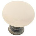 Emtek Madison Ivory Porcelain Cabinet Knob in Satin Steel