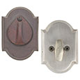 Emtek Style #1 Bronze Deadbolt Door Lock in Silver Patina and Deep Burgundy
