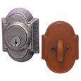 Emtek Style #1 Wrought Steel Deadbolt Door Lock in Satin Steel and Rust