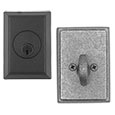 Emtek Style #3 Wrought Steel Deadbolt Door Lock in Flat Black and Satin Steel