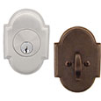 Emtek Style #8 Brass Deadbolt Door Lock in Satin Nickel and Oil Rubbed Bronze