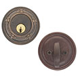 Emtek Tuscany Bronze Deadbolt Door Lock in Medium Bronze and Deep Burgundy