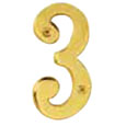 "Emtek 4-inch Brass ""3"" Address Number in PVD"