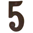 "Emtek 4-inch Brass ""5"" Address Number in Oil Rubbed Bronze"