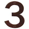 "Emtek 4-inch Bronze ""3"" Address Number in Deep Burgundy"