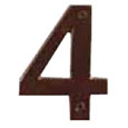 "Emtek 4-inch Bronze ""4"" Address Number in Deep Burgundy"