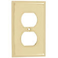 Emtek Colonial 1-Duplex Brass Outlet Cover in PVD