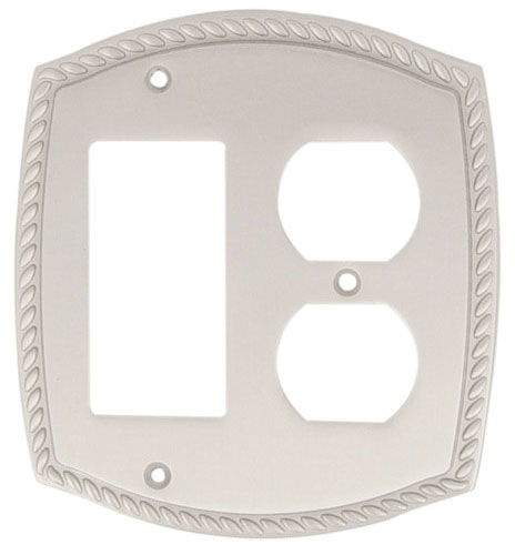 Emtek Rope 1 Rocker Duplex Br Switchplate In Satin Nickel
