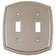 Emtek Rope 2-Toggle Brass Switch Plate in Oil Rubbed Bronze