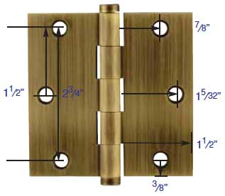 "Dimensions for Emtek 3.5""X3.5"" hinges"