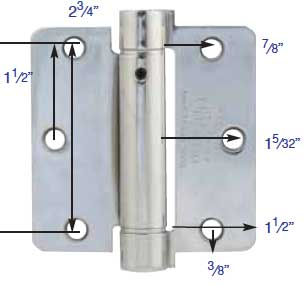 Emtek Plated Steel 1 4 Quot Radius Spring Loaded Door Hinges