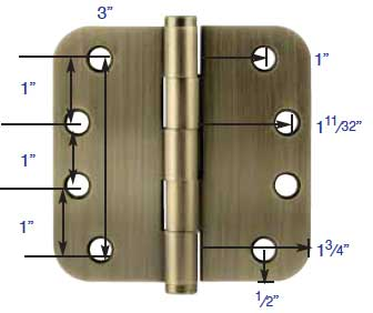 "Dimensions for Emtek 4""X4"" hinges"