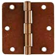 "Emtek Steel Residential-Duty 1/4""-Radius Hinges in Rust"