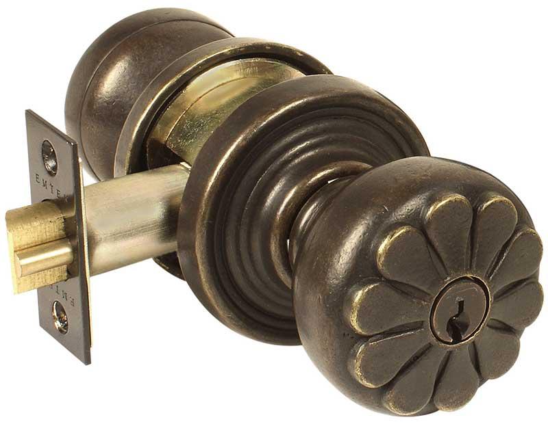 Emtek Petal Bronze Keyed Door Knob Lock Shop Handle
