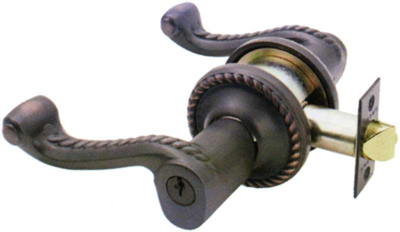 Emtek Rope Style Br Lever Lock Shown In Oil Rubbed Bronze