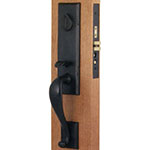 Emtek Rectangular Monolithic Bronze Mortise Door Lock Set in Flat Black
