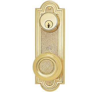 Emtek Belmont 7 1 2 Quot Keyed Brass Door Handle Plate Shop