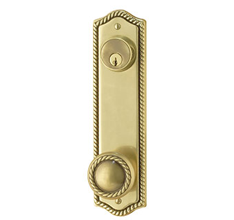 Emtek Rope 9 5 8 Quot Keyed Brass Door Handle Plate Shop